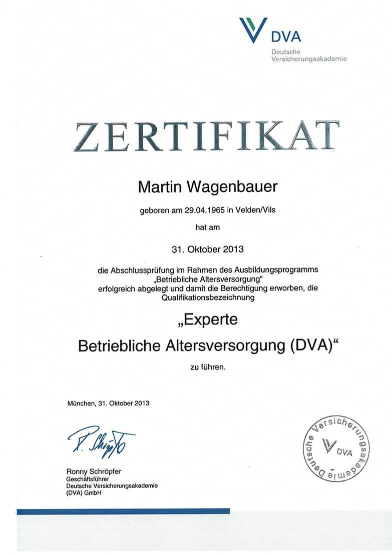 Zertifikat: Experte für betriebliche Altersvorsorge   Finanzkonzepte Wagenbauer