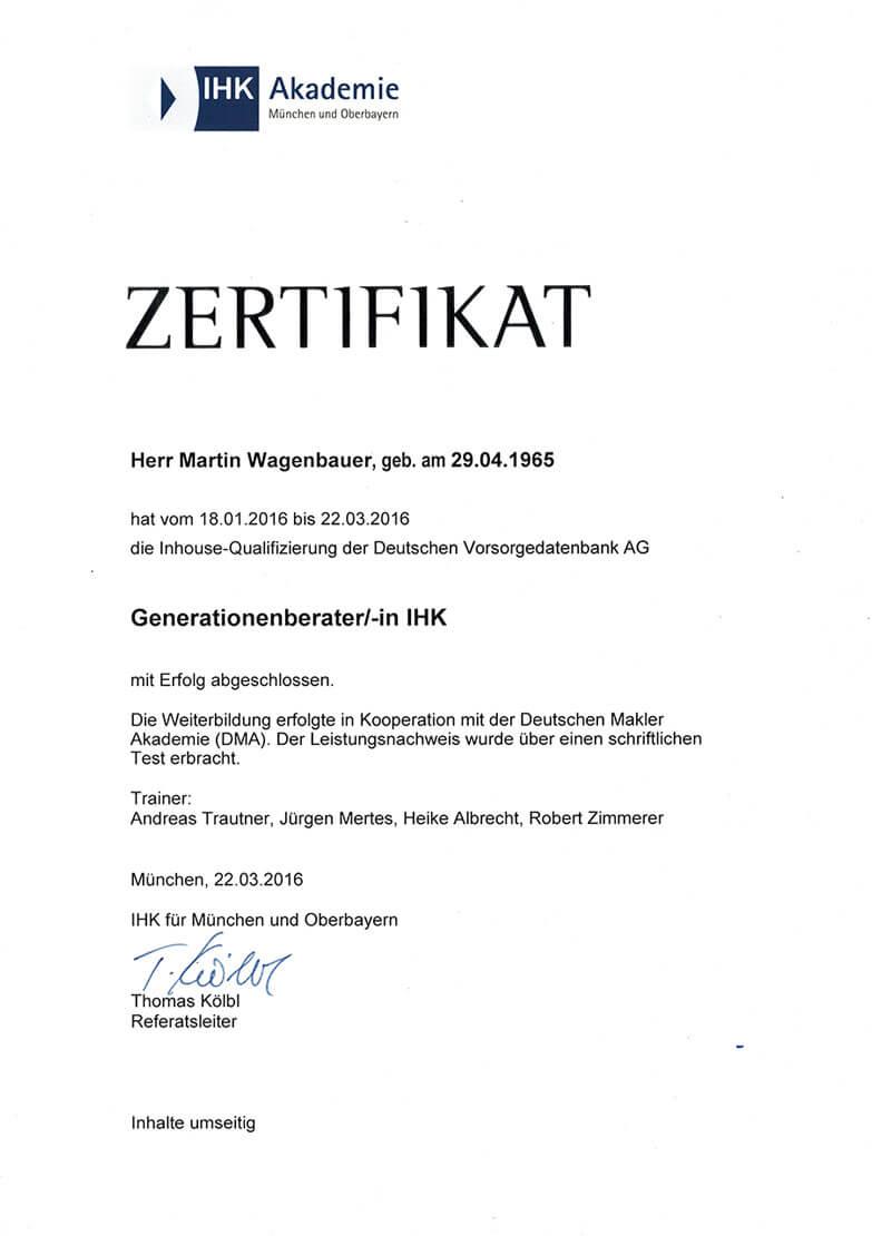 Zertifikat: Generationenberater   Finanzkonzepte Wagenbauer