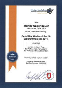Urkunde: geprüfter Wertermittler | Finanzkonzepte Wagenbauer