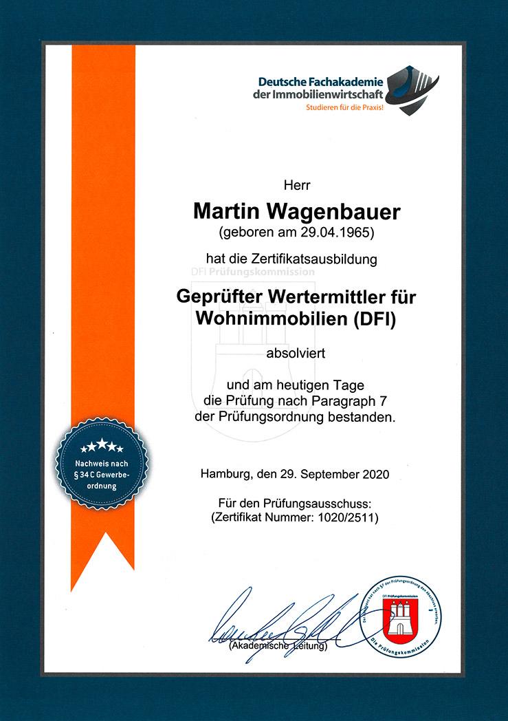 Zertifikat: geprüfter Wertermittler | Finanzkonzepte Wagenbauer